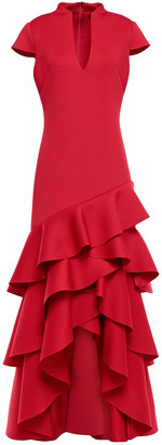 Badgley Mischka Asymmetric Tiered Scuba Gown