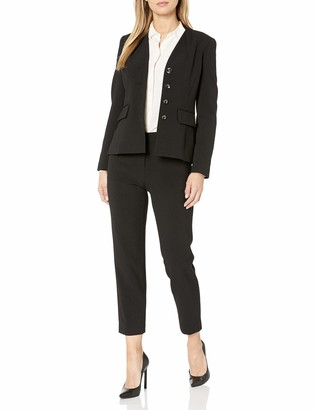 Tahari ASL Women's Collarless 4 Button Jacket and Pant Suit