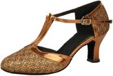 Honeystore Women's Closed Toe T Strap Glitter Dance Shoes