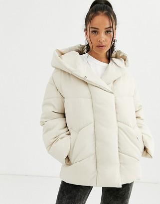 Bershka longline puffer coat with hood in cream