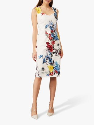 Phase Eight Keshena Floral Fitted Dress, Ivory/Multi