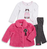 Kids Headquarters Girls 2-6x Sherpa Jacket, Graphic Tee and Polka Dot Leggings Set