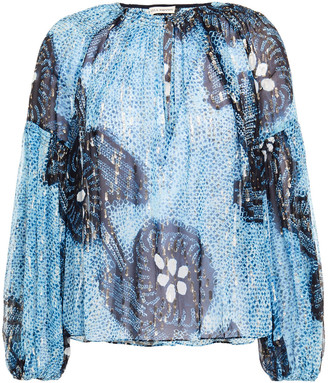 Ulla Johnson Sanya Printed Fil Coupe Silk And Lurex-blend Blouse