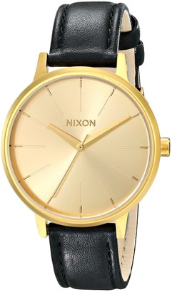 Nixon Kensington Leather Gold Casual Designer Womens Watch (37mm. All Gold Face/Black Leather Band)