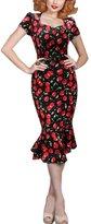 REPHYLLIS Women Vintage Square Neck OL Floral Print Woking Casual Cocktail Party Fishtail Dress Red L