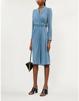 Max Mara Elegante Galizia embellished silk-crepe wrap dress
