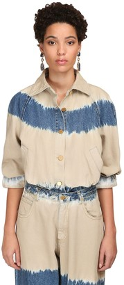 Alberta Ferretti Tie Dye Cotton Denim Jacket