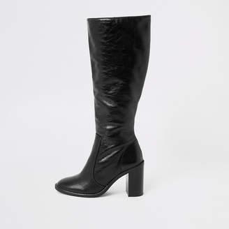 River Island Black leather block heel knee high boots