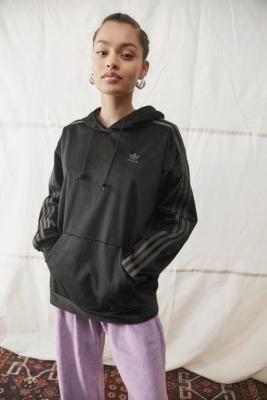 adidas Black Corduroy Zip-Through Hoodie - Black UK 6 at Urban Outfitters