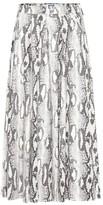 MSGM Faux snakeskin pleated midi skirt