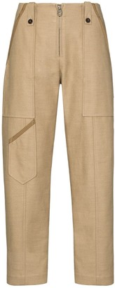 Chloé Cropped Linen And Cotton-Blend Trousers