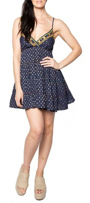 Area Stars Short Embroidered Halter Dress - Dobby