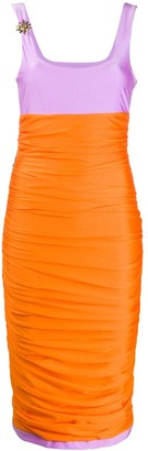 Fausto Puglisi colour block ruched dress