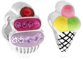 Rhona Sutton 4 Kids Children's Enamel Ice Cream Cupcake Bead Charms - Set of 2 in Sterling Silver