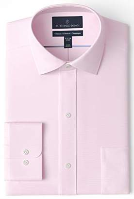 Buttoned Down Classic Fit Spread Collar Solid Non-Iron Dress Shirt, Light Pink/Pockets, 15.5 Inches Neck 34 Inches Sleeve