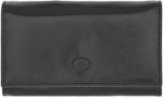 The Bridge Story Donna Black Genuine Leather Flap Wallet w/Zip Pocket