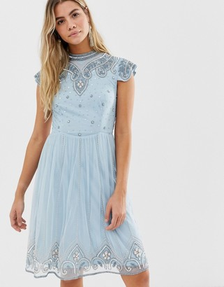 Frock and Frill high neck mini dress with allover embellishment in soft blue