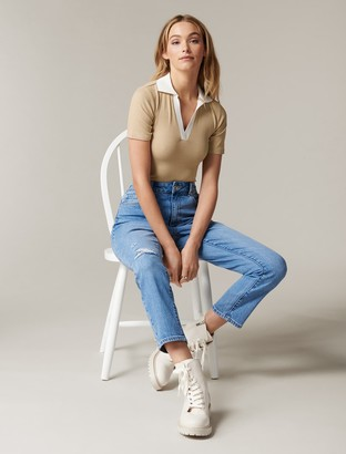 Forever New Mina Contrast Polo T-shirt - Camel / Porcelain - l