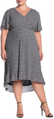 Maree Pour Toi Checkered Pleated Dress (Plus Size)