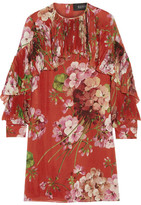 Gucci Floral-print Silk-georgette Mini Dress - Brick