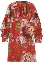 Gucci Floral-print Silk-georgette Mini Dress
