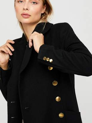 Monsoon Rosalie Fit and Flare Coat - Black