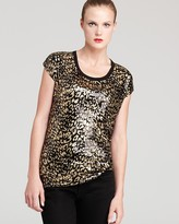MICHAEL Michael Kors Cheetah Foil Print Short Sleeve Top
