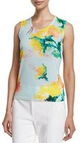 Escada Scoop-Neck Carnation-Print Tank, Multi Colors