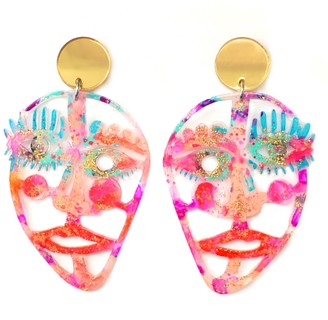 Boo And Boo Factory Neon Resin Face Acrylic Laser Cut Statement Earrings