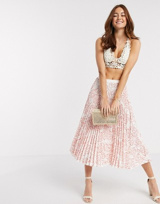 Closet London pleated midi skirt in orange abstract floral print