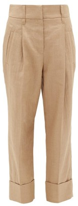 Brunello Cucinelli Turn-up Cuff Technical-twill Trousers - Womens - Beige