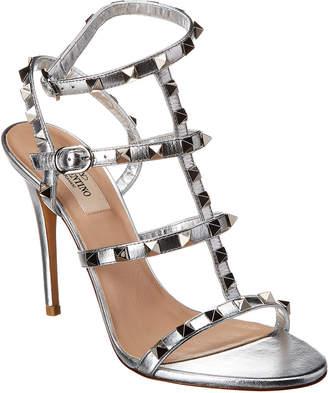 Valentino Rockstud Caged 105 Metallic Leather Ankle Strap Sandal