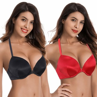 Curve Muse Women Push Up Add 1 and a Half Cup Underwire Halter Front Close Bras -2PK-Black RED-40DDD (EU:90F)