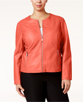 Alfani Plus Size Faux-Leather Moto Jacket, Only at Macy's