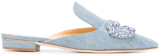 Giannico Daphne 20mm denim slippers