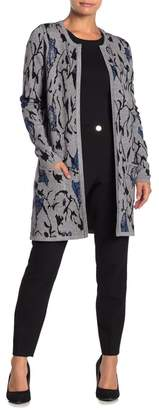 Joseph A Abstract Floral Double Knit Cardigan