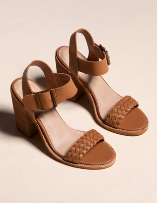 Steve Madden Cadence Cognac Leather Womens Heeled Sandals