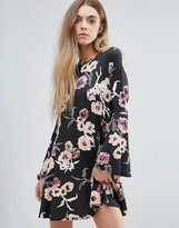 Daisy Street Floral Dress With Bell Sleeves