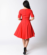 Unique Vintage 1950s Style Red Half Sleeve Delores Swing Dress