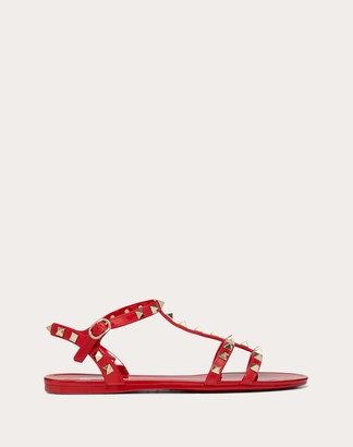 Valentino Garavani Rockstud Flat Rubber Sandals Women Rouge Pur Pvc - Polyvinyl Chloride 100% 40