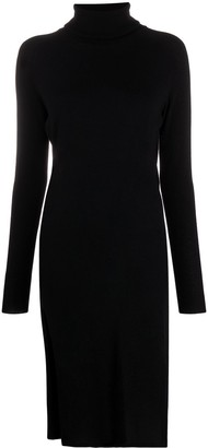 Laneus Split-Hem Roll Neck Sweater Dress