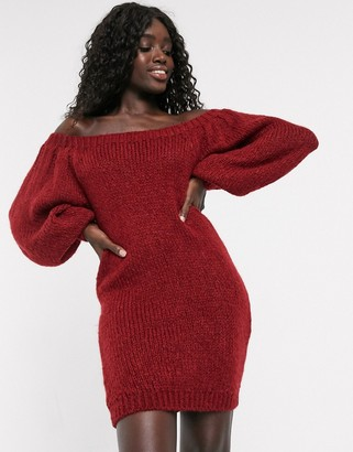 Asos Design DESIGN off shoulder mini dress in lofty yarn-Red