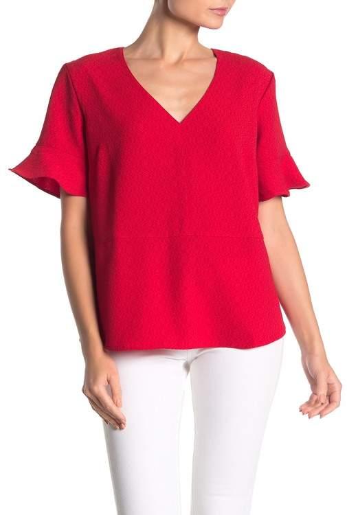 d12fe381123d1f Red Flutter Sleeve Top - ShopStyle