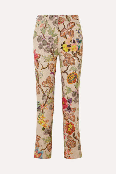 Etro Cropped Floral Brocade Straight-leg Pants - Cream