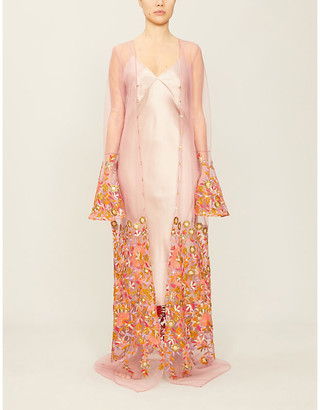 Selfridges Kiera embroidered satin and lace dressing gown