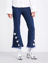 Marques Almeida Button-detailed flared low-rise jeans
