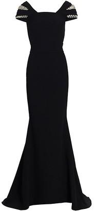 Safiyaa Abigail Herringbone Cap-Sleeve Crepe Gown
