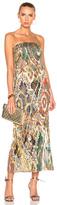 Oscar de la Renta Strapless Gown in Abstract,Green,Metallics,Red.