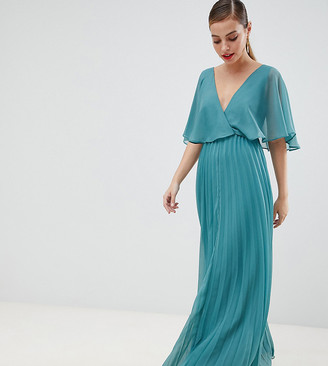 ASOS DESIGN Petite flutter sleeve maxi dress with pleat skirt
