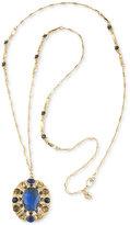 Carolee Gold-Tone Blue Stone Long Oval Pendant Necklace